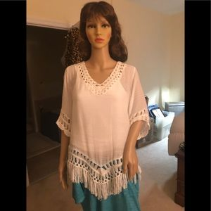White fringe top, perfect condition with tags